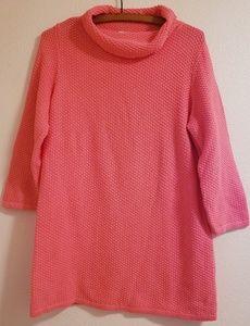 LOFT Pink Long Cowl Neck Knit Sweater